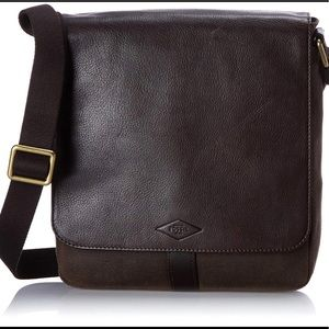 Fossil Trevor NS City Bag Men's Dark Brown Leather